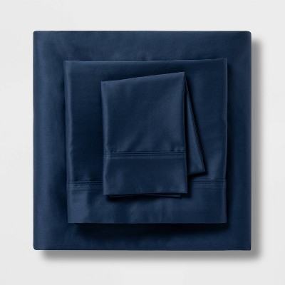 Queen 400 Thread Count Solid Performance Sheet Set Metallic Blue - Threshold™