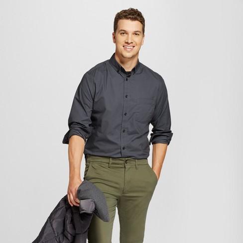 Men's Long Sleeve Slim Fit Solid Northrop Poplin Button-Down Shirt - Goodfellow & Co™ - image 1 of 3