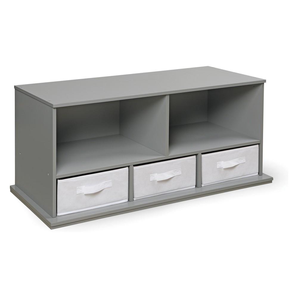 Image of Badger Basket Stackable Shelf Storage Cubby with Three Baskets Gray