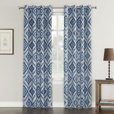Laconia Medallion Print Crushed Texture Grommet Curtain Panel Indigo 50 x84  - Sun Zero