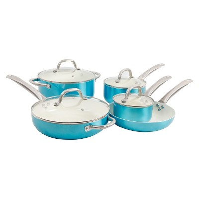 Oster 9pc Ceramic Cookware Set Turquoise