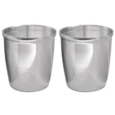 mDesign Small Round Metal Trash Can Wastebasket, Garbage Bin, 2 Pack - Polished