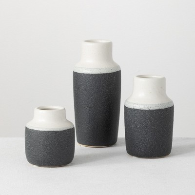 "Sullivans Set of 3 Ceramic Vase 7""H, 5.25""H & 3.75""H White and Black"