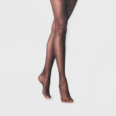 Women's Clean Herringbone Tights - A New Day™ Black