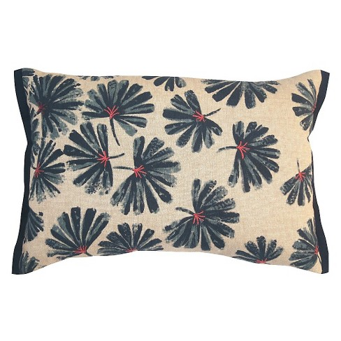 Blue Painted Floral Lumbar Throw Pillow - image 1 of 1