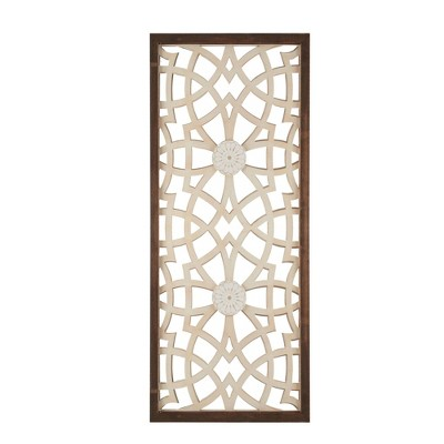"""15.5"""" x 37.5"""" Damask Carved Wall Sign Panel Wood"""