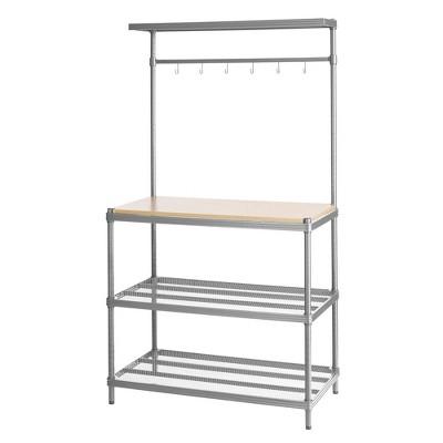 "Design Ideas Meshworks Steel Storage Shelving Unit – Wood Utility Unit 35.4"" x 17.7"" X 63"""