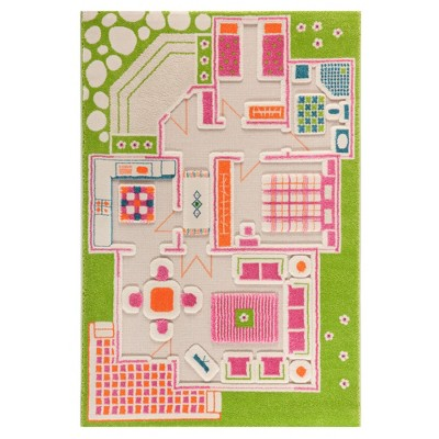IVI 3D Play Carpets 121MD015YE10153 59 x 39 Inch Play House Educational Toddler Mat Rug for Bedroom, Kids Den, or Playroom, Medium