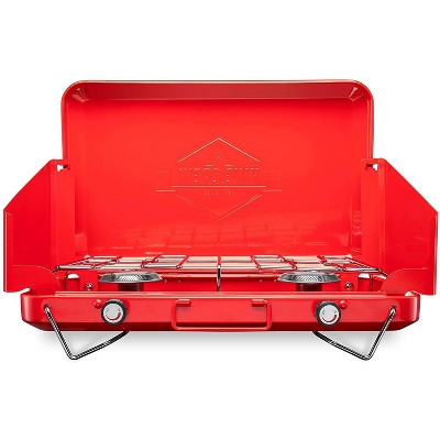 Hike Crew Portable Dual Propane Burner Camping Stove, Built-in Carrying Handle, Foldable Legs & Wind Panels