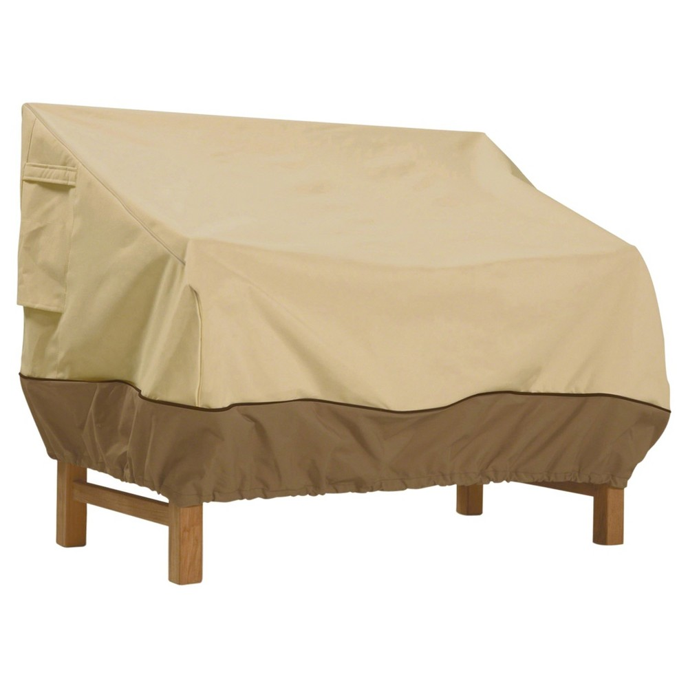 Veranda Patio Loveseat Cover - 58 x 32.5 x 31 - Light Pebble - Classic Accessories, Brown Gray