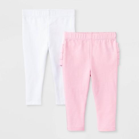 Baby Girls' 2pk Leggings - Cat & Jack™ Pink/White - image 1 of 2