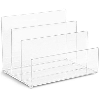 """Juvale Clear Acrylic File Folder Holder Rack , Office File Organizer for Document Paper, Letter Book and Envelope 9""""x 6.8"""""""