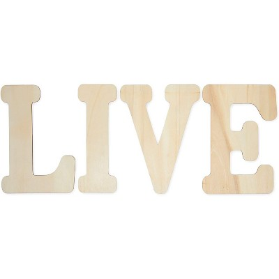 Bright Creations Unfinished Wooden Letters for Crafts, Live (12 in, 4 Pieces)