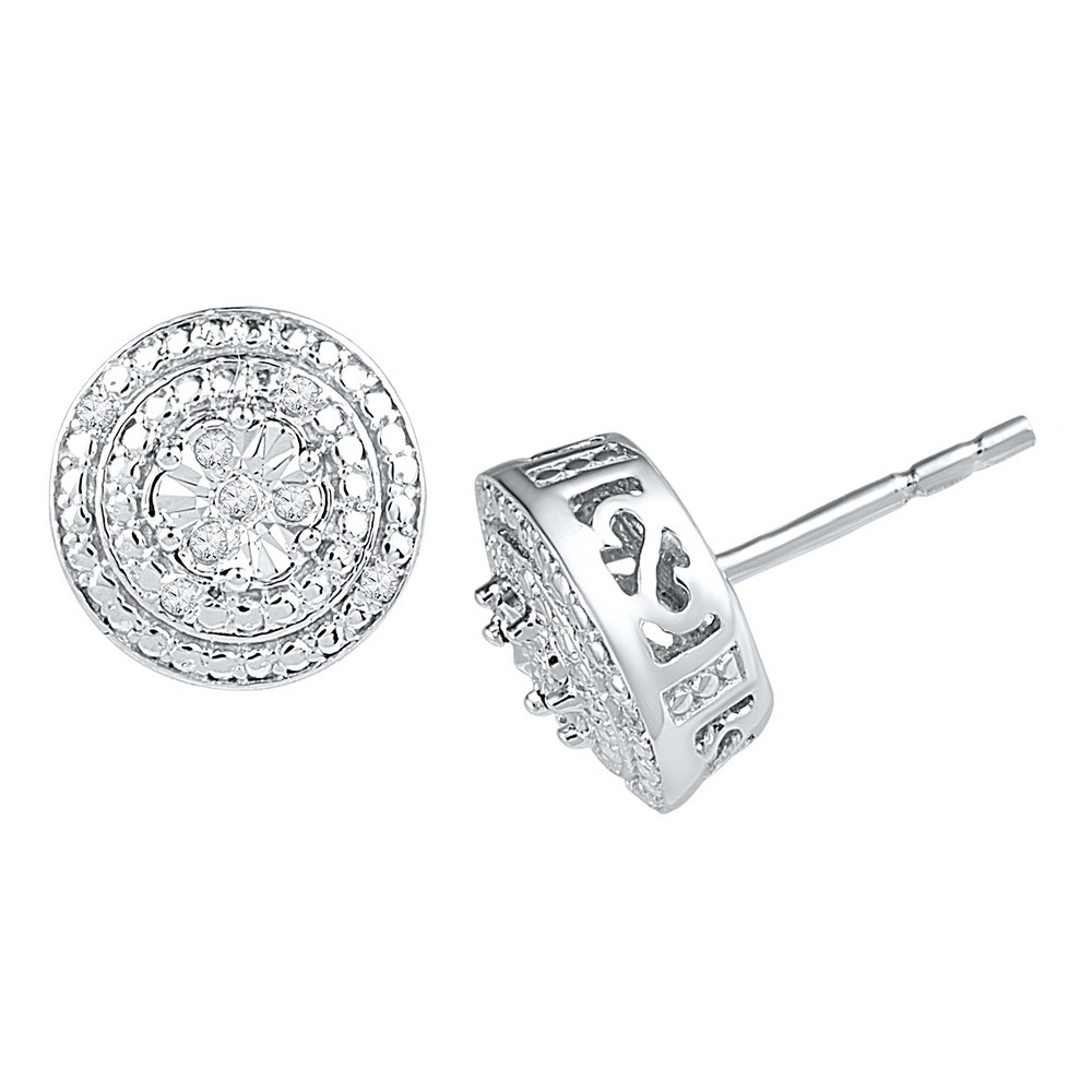 Image of 0.030 CT. T.W. Round-Cut Diamond Prong and Miracle Set Stud Earring in Sterling Silver (IJ-I2-I3), Women's, White