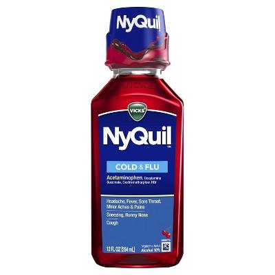 Vicks NyQuil Cold & Flu Relief Liquid - Acetaminophen - Cherry - 12 fl oz