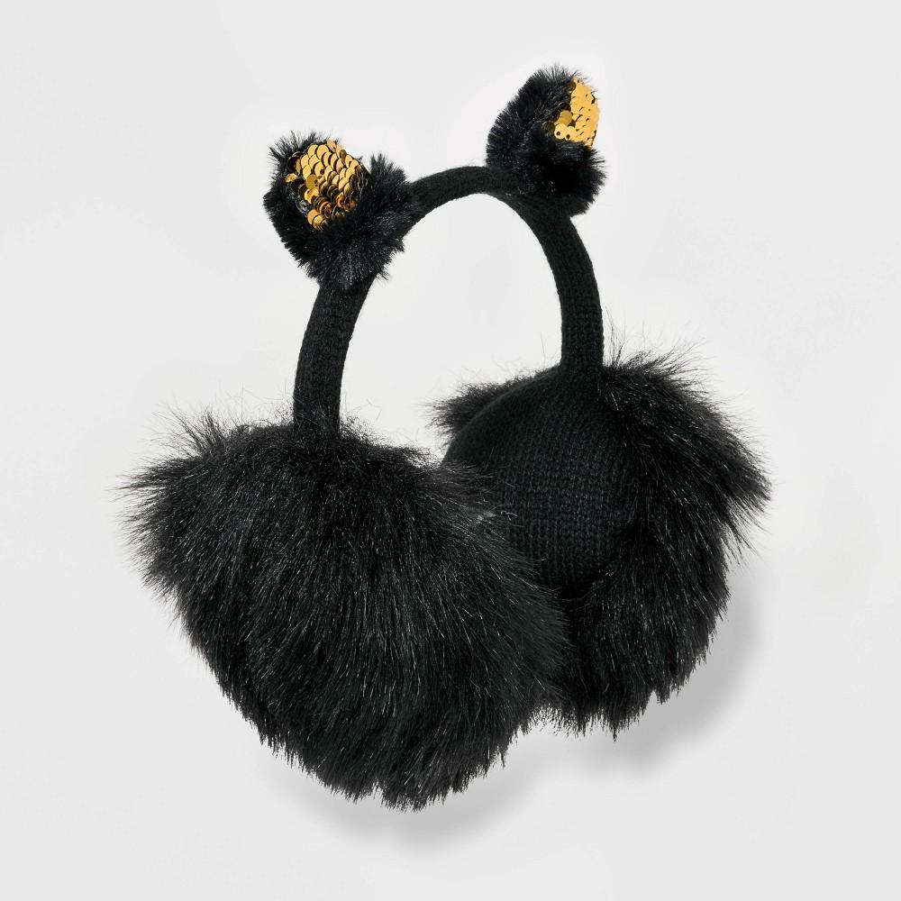 Image of Girls' Cat Earmuffs - Cat & Jack Black One Size, Girl's