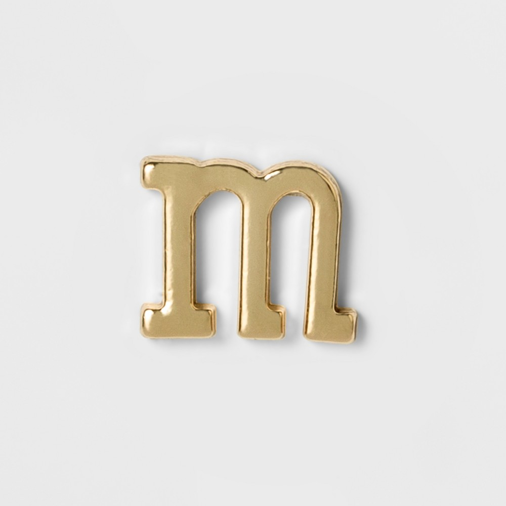 Women's Fashion Stick on Pin Letter m - Gold, Bright Gold Initial Letter - M