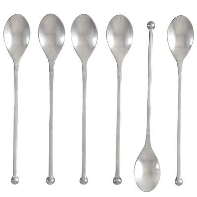 Knork 8 Inch Handle 18/0 Stainless Steel Cocktail Tea Beverage Stirring Spoons, Matte Silver, Set of 6