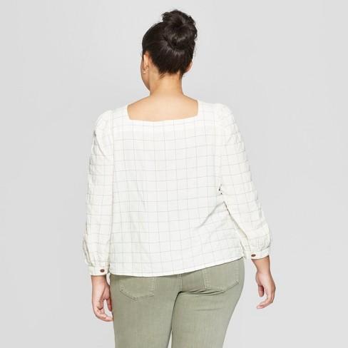 c0532b35623bd Women s Plus Size Plaid Long Sleeve Square Neck Button Front Shirt -  Universal Thread™ Blue   Target