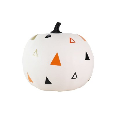 Large Painted Triangles Halloween Pumpkin Cream - Hyde and Eek! Boutique™