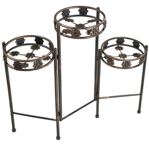 "29"" Steel 3-Tier Folding Plant Stand - Bronze - Sunnydaze Decor - image 1 of 4"
