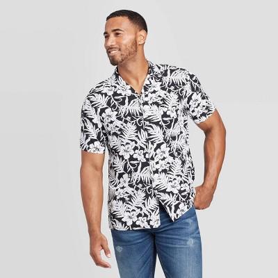 Men's Floral Print Standard Fit Short Sleeve Button-Down Camp Shirt - Goodfellow & Co™ Black XL