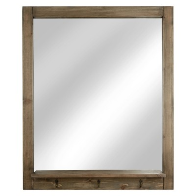 Rectangle Entryway Decorative Wall Mirror with Hooks Barnwood - Threshold™