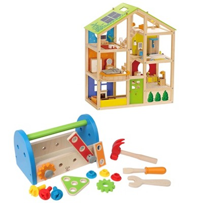 Hape All Season House Wooden Dollhouse Bundle with Fix It Tool Box Kids Children Toddler Preschool Wooden Construction Toy Toolbox Play Set