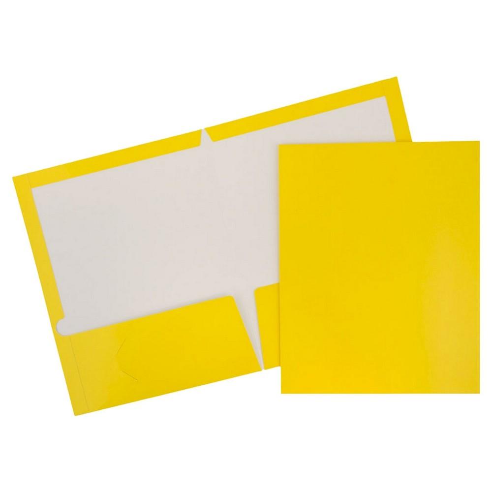 Jam Paper, Glossy Folders, 6pk - Yellow