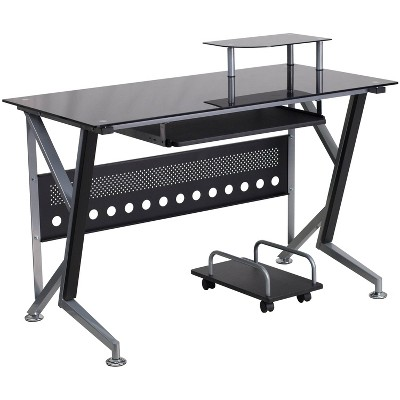 Glass Computer Desk with Pull - Out Keyboard Tray and Cpu Cart - Black Glass Top/Silver Frame - Riverstone Furniture Collection