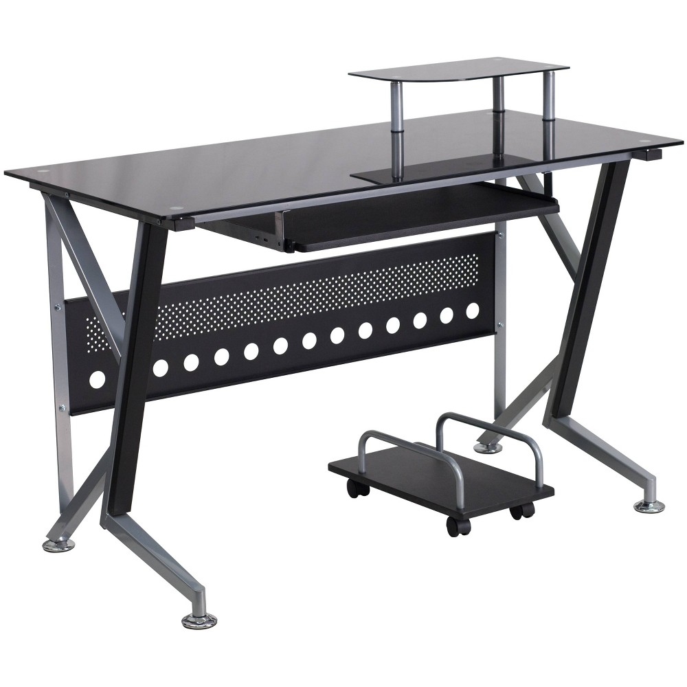 Image of Glass Computer Desk with Pull - Out Keyboard Tray and Cpu Cart - Black Glass Top/Silver Frame - Riverstone Furniture Collection, Gray Black