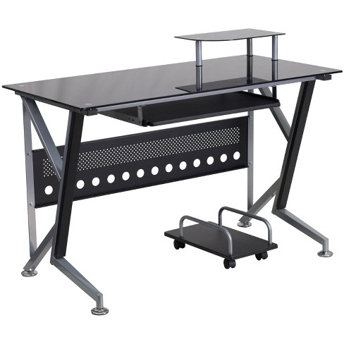 Glass Computer Desk With Pull Out, Flash Furniture Black Glass Computer Desk With 3 Drawer Pedestal