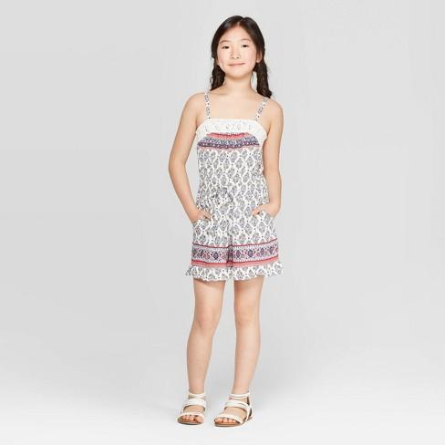 Girls' Romper with Crochet Piecing - art class™ - image 1 of 3
