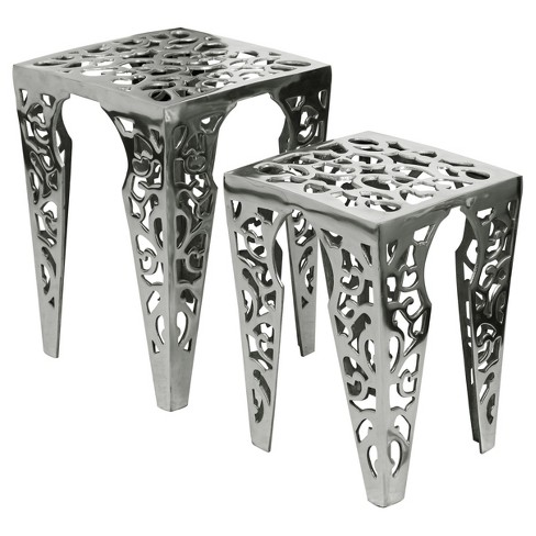Polished Cast Aluminum Set of Two Tables with Laser Cut Design Open Work - Silver - Stylecraft - image 1 of 1