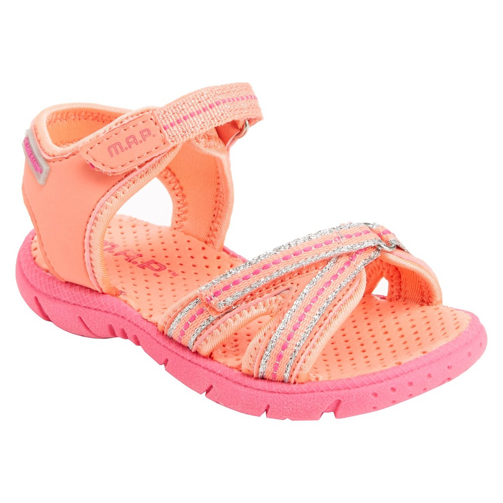 Girls' M.A.P. Lorna Adventure Ankle Strap Sandals - Coral (Pink) 12