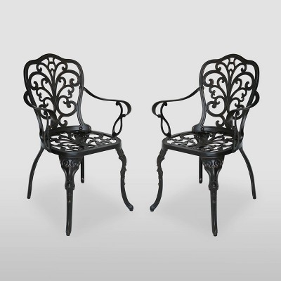 Viga 2pk Cast Aluminum Dining Chair - Shiny Copper - Christopher Knight Home
