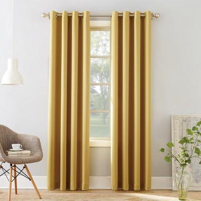 "54""x63"" Seymour Grommet Top Room Darkening Window Curtain Panels Yellow - Sun Zero"