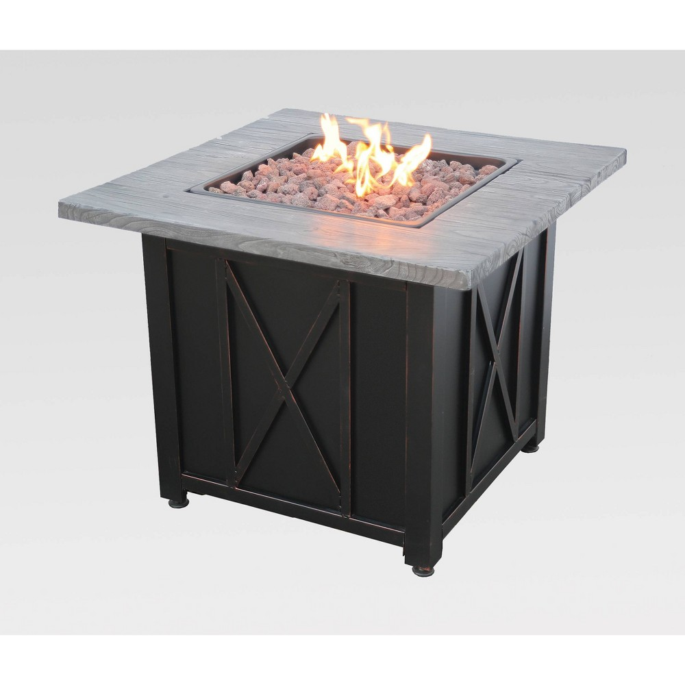 "Image of ""30"""" Outdoor Patio Gas Fire Pit with Wood Look Resin Mantel Gray - Endless Summer, Yellow Gray"""