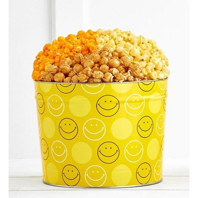 The Popcorn Factory Gift Tin, Smiley Face, 2 Gallons (Robust Cheddar, Butter, Caramel)
