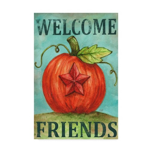 "Melinda Hipsher Pumpkin Star Welcome Autumn Unframed Wall 16""x24"" - Trademark Fine Art - image 1 of 3"