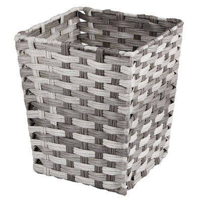 mDesign Woven Square Trash Can Wastebasket, Garbage Container Bin