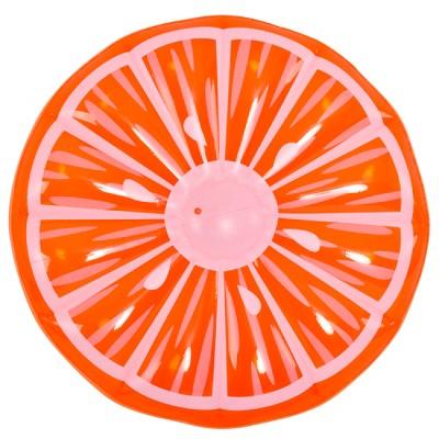 "Pool Central 58"" Inflatable Jumbo Orange Slice 1-Person Swimming Pool Island Float - Orange/White"