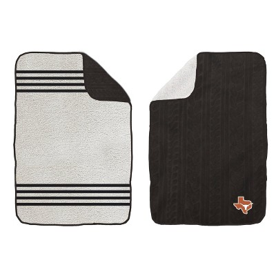 NCAA Texas Longhorns Cable Knit Embossed Logo with Sherpa Stripe Throw Blanket