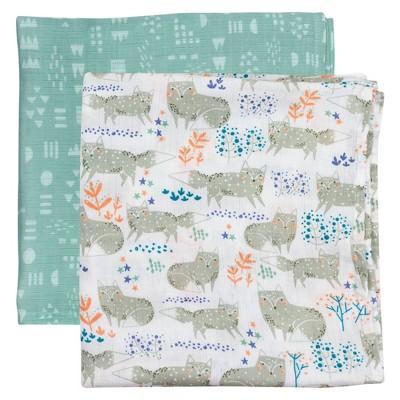Honest Baby Organic Cotton Muslin Swaddling Blankets - Arctic Fox 2pk