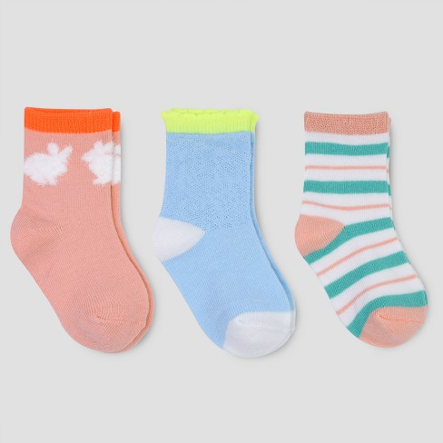Toddler Girls' 3pk Crew Bunny Socks - Cat & Jack™ Multicolored - image 1 of 1