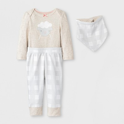 Baby Girls' Meadow 3pc Set - Cloud Island™ White 3-6M