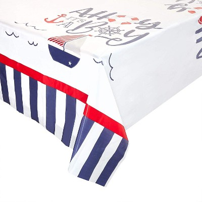 "Sparkle and Bash 3-Pack Ahoy It's a Boy Nautical Disposable Plastic Table Cover Tablecloth 54""x108"""