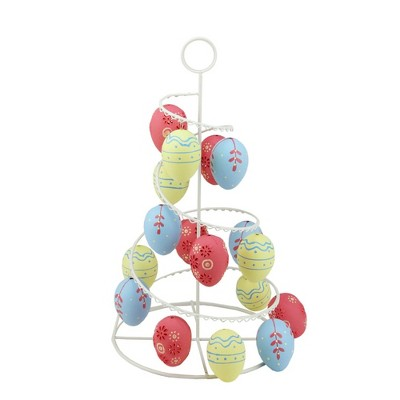 """Northlight 14.25"""" Floral Cut-Out Spring Easter Egg Tree Decoration - Yellow/Pink"""