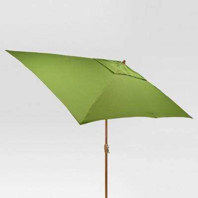 9.68' x 9.68' Rectangle Umbrella - Green - Light Wood Finish - Threshold™