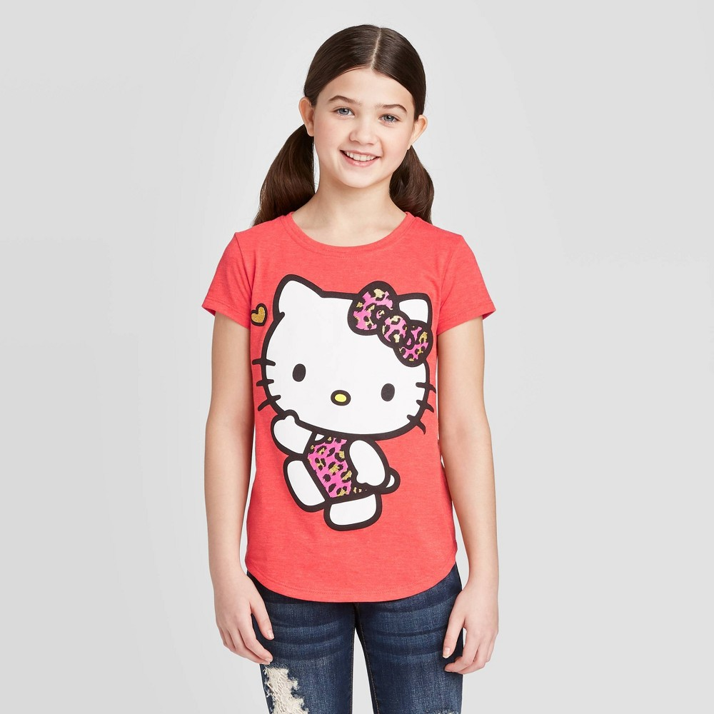 Image of petiteGirls' Short Sleeve Hello Kitty Leopard T-Shirt - Red L, Girl's, Size: Large